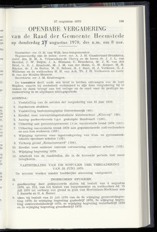 Raadsnotulen Heemstede 1970-08-27