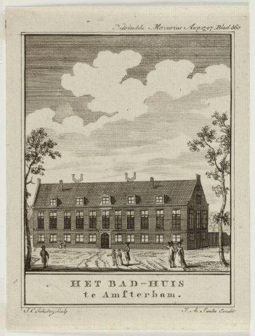 "Aanzicht van het Badhuis in de Plantage Badlaan. 1 topogr. prent: ets ets recto l.o. ""J.C. Schultsz. Sculp""; r.o. ""J.A. Swalm Excudit"" blad 187 x 142 mm; vrst. incl. tekstkader 159 x 124 mm."