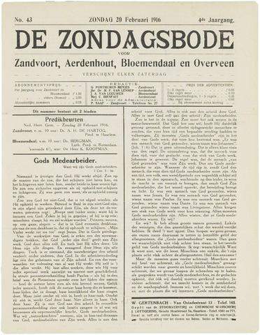 De Zondagsbode voor Zandvoort en Aerdenhout 1916-02-20