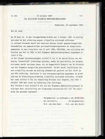 Raadsnotulen Heemstede 1984-10-25