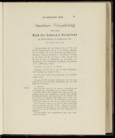 Raadsnotulen Heemstede 1926-01-28