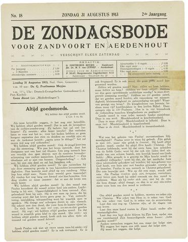 De Zondagsbode voor Zandvoort en Aerdenhout 1913-08-31
