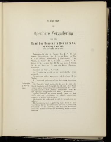 Raadsnotulen Heemstede 1921-05-06