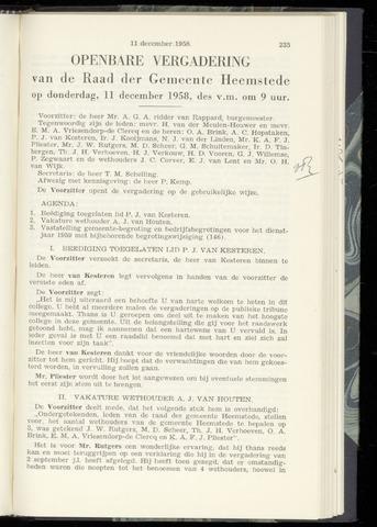 Raadsnotulen Heemstede 1958-12-11