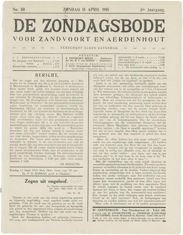 De Zondagsbode voor Zandvoort en Aerdenhout 1915-04-18