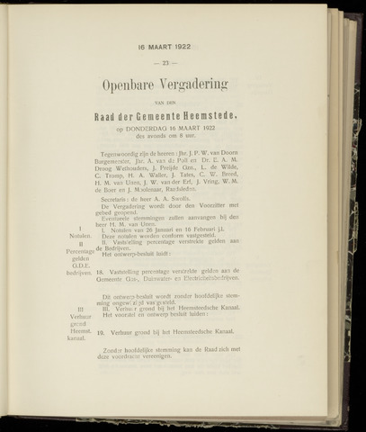 Raadsnotulen Heemstede 1922-03-16