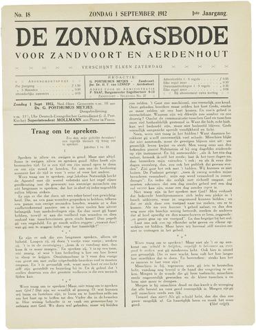 De Zondagsbode voor Zandvoort en Aerdenhout 1912-09-01