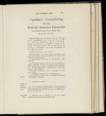 Raadsnotulen Heemstede 1924-10-23