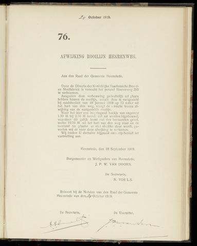 Raadsnotulen Heemstede 1919-10-24