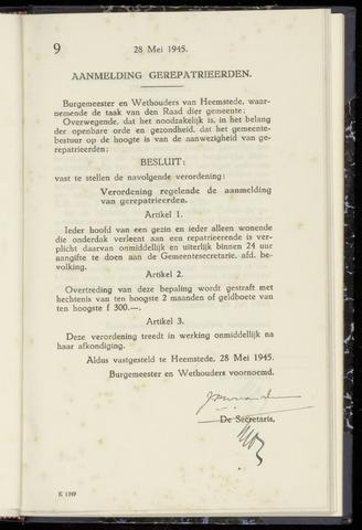 Raadsnotulen Heemstede 1945-05-28