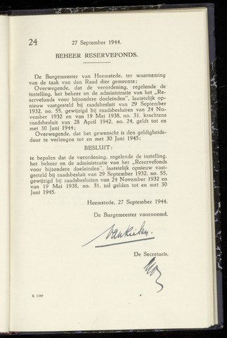 Raadsnotulen Heemstede 1944-09-27