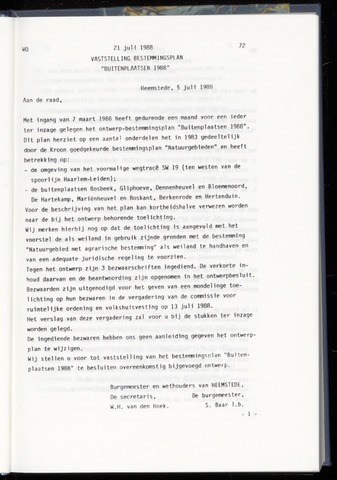Raadsnotulen Heemstede 1988-07-21