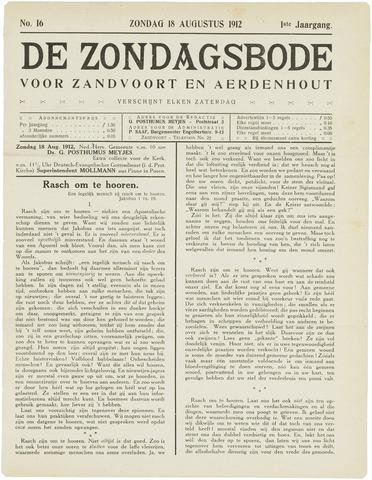 De Zondagsbode voor Zandvoort en Aerdenhout 1912-08-18