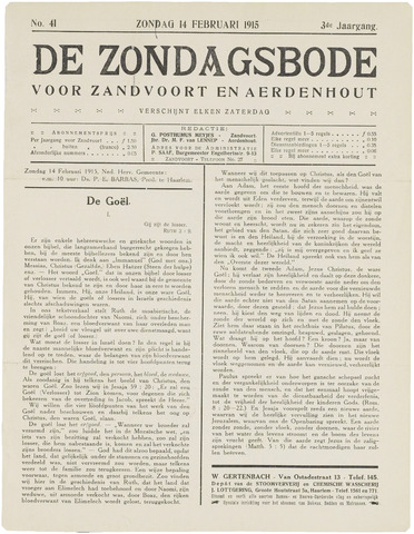 De Zondagsbode voor Zandvoort en Aerdenhout 1915-02-14