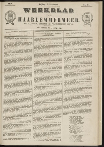 Weekblad van Haarlemmermeer 1876-11-03