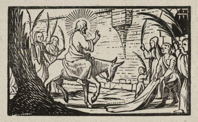 De intocht in Jeruzalem. <br> Elfde prent uit een ongenummerde, achtiendelige prentenserie met voorstellingen uit het Nieuwe Testament. <br> Houtsnede.