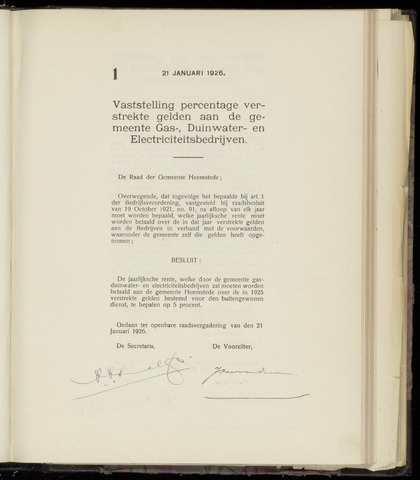 Raadsnotulen Heemstede 1926-01-21