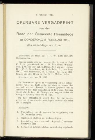 Raadsnotulen Heemstede 1940-02-08