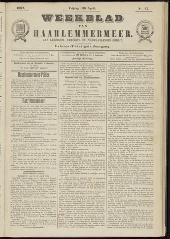 Weekblad van Haarlemmermeer 1882-04-28