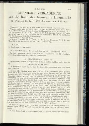 Raadsnotulen Heemstede 1952-07-15