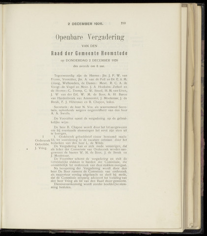 Raadsnotulen Heemstede 1926-12-02