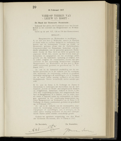 Raadsnotulen Heemstede 1917-02-16