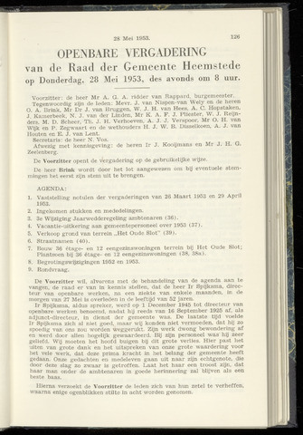 Raadsnotulen Heemstede 1953-05-28