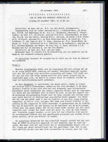 Raadsnotulen Heemstede 1985-11-29