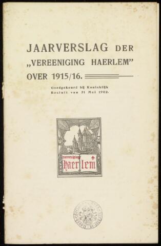Jaarverslagen en Jaarboeken Vereniging Haerlem 1915