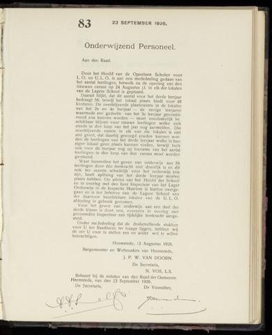 Raadsnotulen Heemstede 1926-09-23