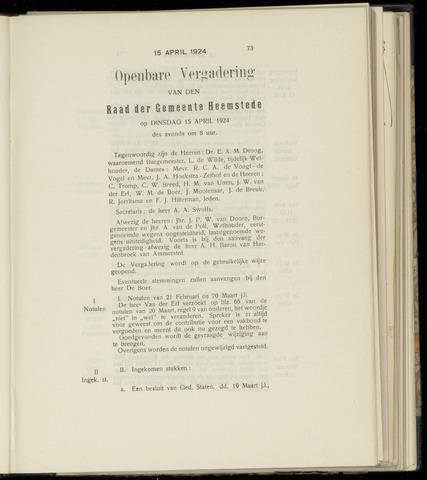 Raadsnotulen Heemstede 1924-04-15
