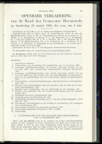 Raadsnotulen Heemstede 1962-03-29