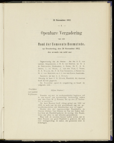 Raadsnotulen Heemstede 1912-11-28