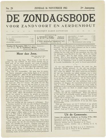 De Zondagsbode voor Zandvoort en Aerdenhout 1913-11-16