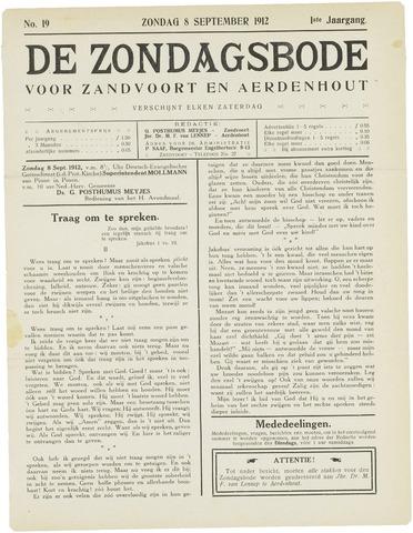 De Zondagsbode voor Zandvoort en Aerdenhout 1912-09-08