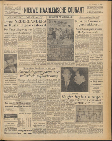 Nieuwe Haarlemsche Courant 1961-09-22