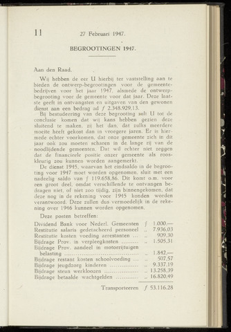 Raadsnotulen Heemstede 1947-02-27