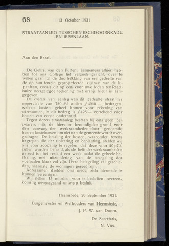 Raadsnotulen Heemstede 1931-10-13