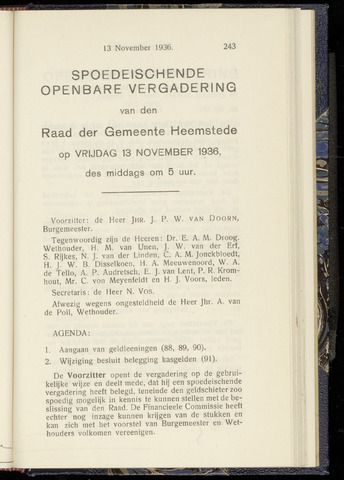 Raadsnotulen Heemstede 1936-11-13