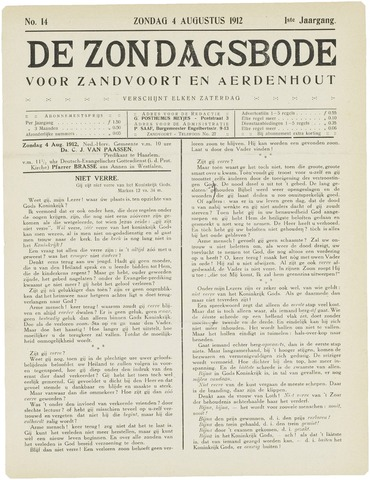 De Zondagsbode voor Zandvoort en Aerdenhout 1912-08-04