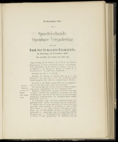 Raadsnotulen Heemstede 1916-11-25