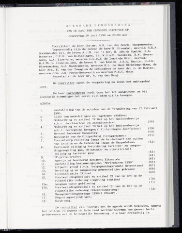 Raadsnotulen Heemstede 1990-06-28