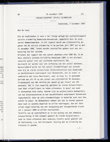 Raadsnotulen Heemstede 1989-11-30