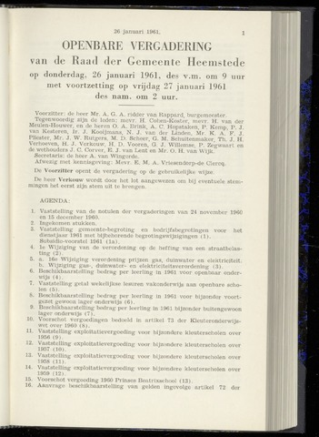 Raadsnotulen Heemstede 1961-01-26