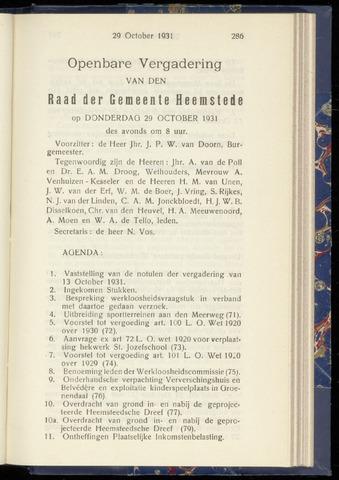 Raadsnotulen Heemstede 1931-10-29