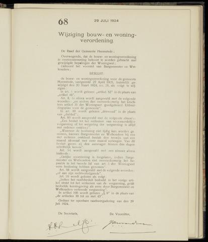 Raadsnotulen Heemstede 1924-07-29