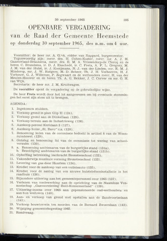 Raadsnotulen Heemstede 1965-09-30