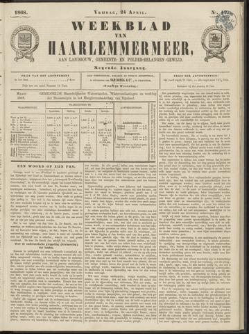 Weekblad van Haarlemmermeer 1868-04-24