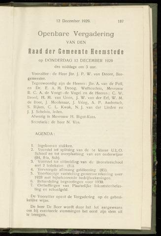Raadsnotulen Heemstede 1929-12-12