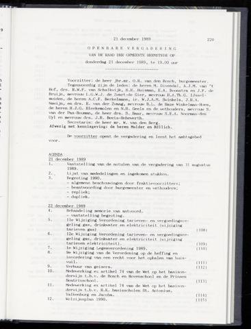 Raadsnotulen Heemstede 1989-12-21